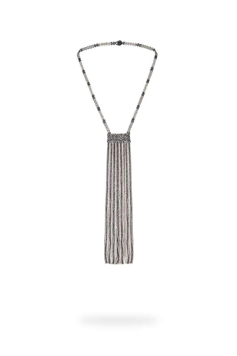 001 collar tiras kuu witari plata platino cristal gris