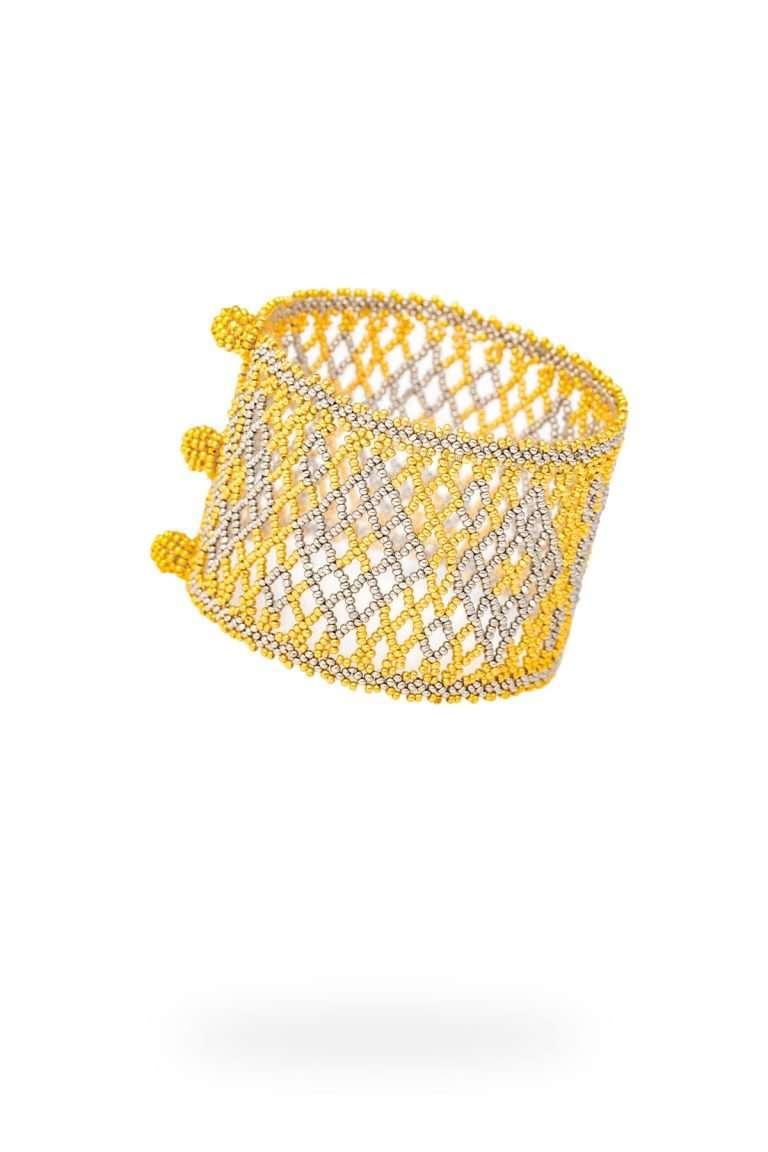 002 brazalete tejido abierto oro platino