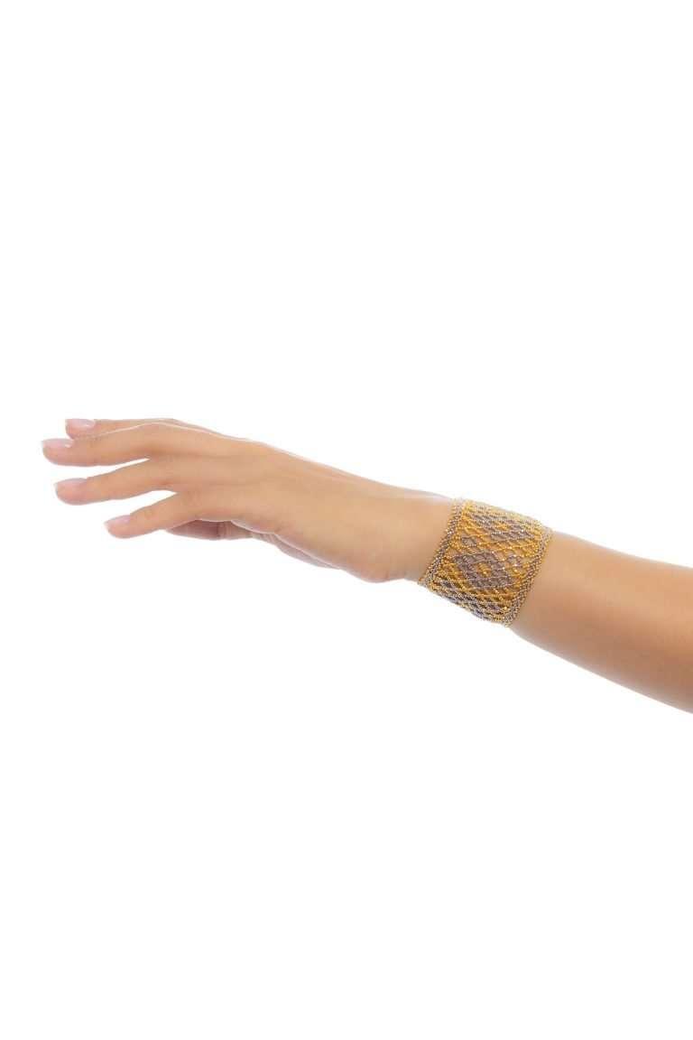 002 brazalete tejido abierto oro platino alt2