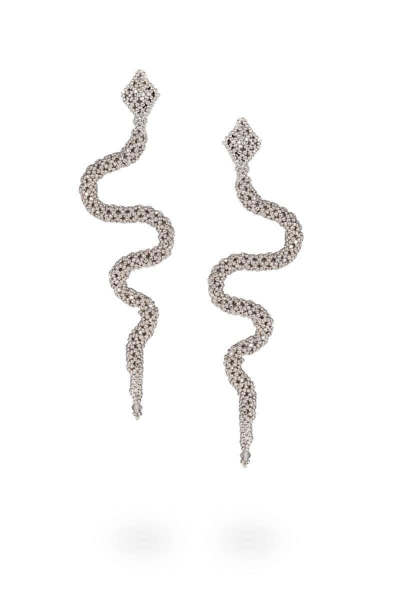 SER003 aretes serpiente plata platino