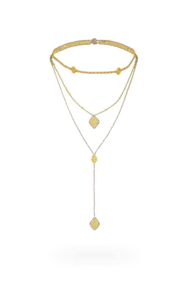 TLC007 collar lineal oro platino