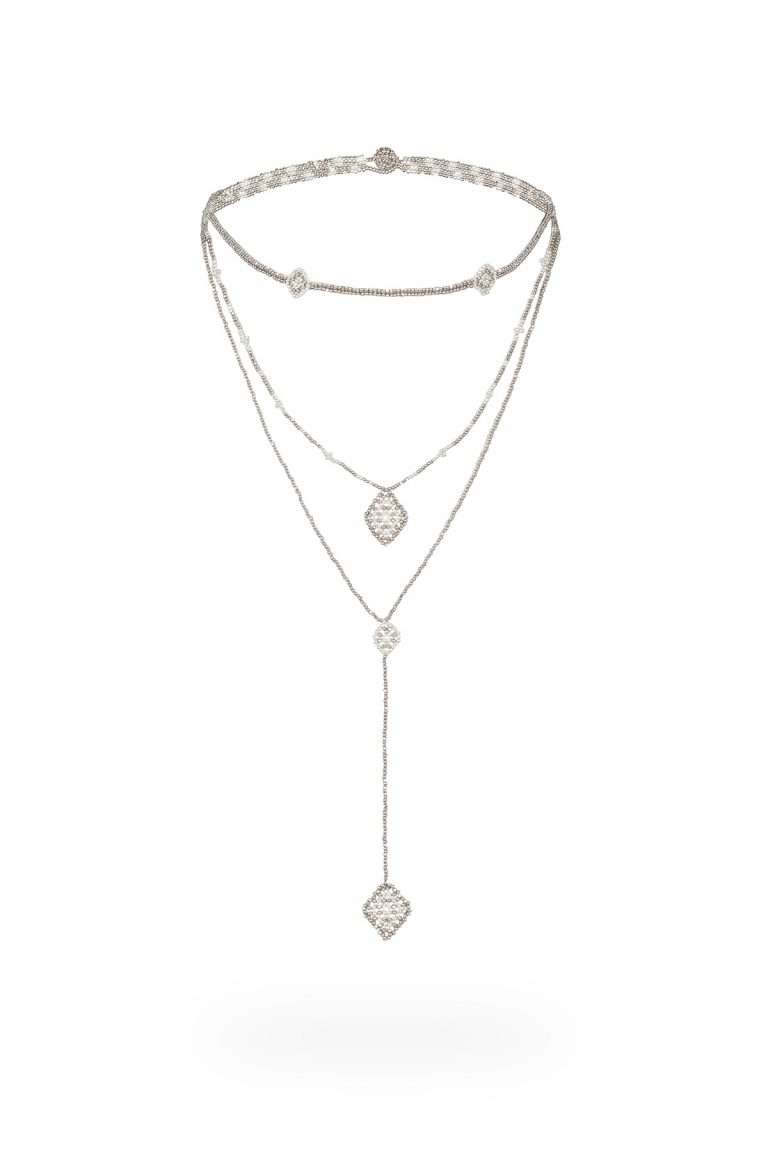 TLC008 collar lineal plata platino